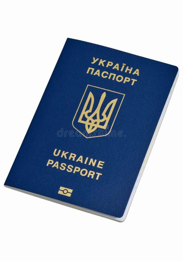 Oekraïens biometrisch die paspoort op witte achtergrond wordt geïsoleerd stock afbeelding