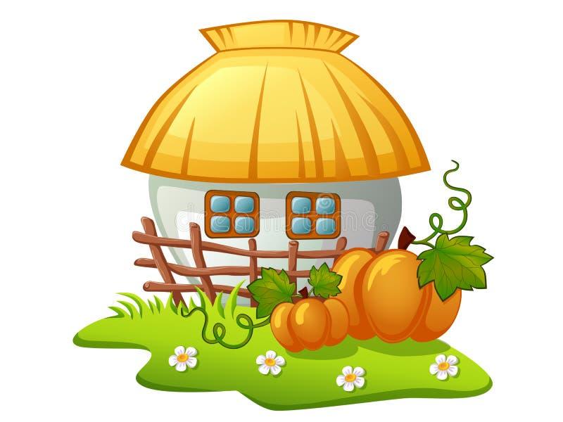 Oekraïens landelijk huis met houten omheining en pompoenen stock illustratie