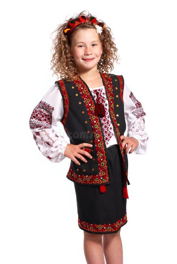 Oekraïens meisje op witte achtergrond royalty-vrije stock fotografie