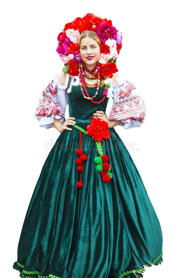 Oekraïens mooi meisje in de nationale kleding stock afbeeldingen
