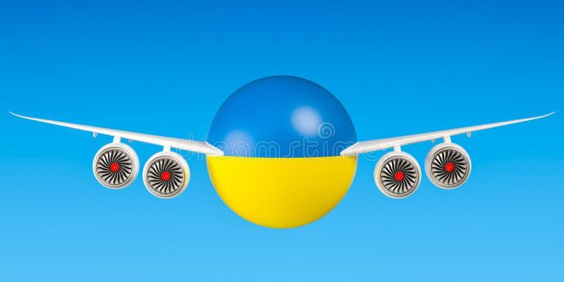 Oekraïense luchtvaartlijnen en het vliegen ` s concept het 3d teruggeven stock illustratie