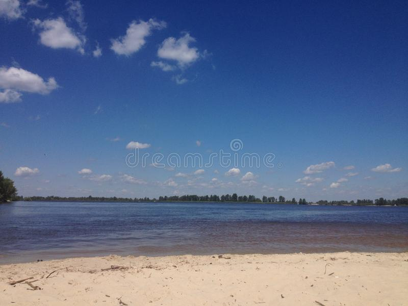 Oekraïense rivier Dnieper stock foto