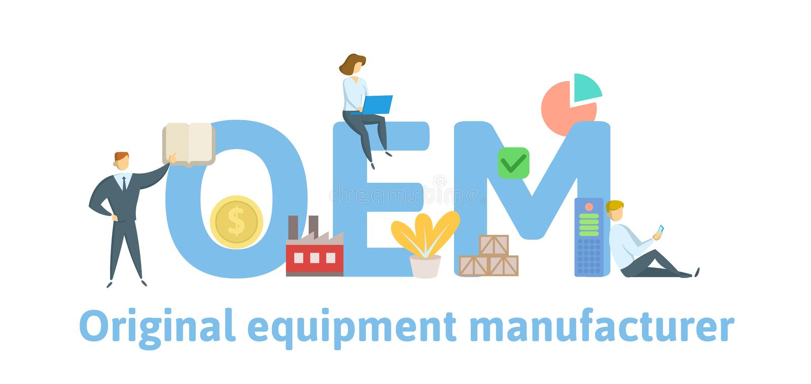 OEM, Original Equipment Manufacturing. Concept with keywords, people and icons. Flat vector illustration. Isolated on. OEM, Original Equipment Manufacturing stock illustration