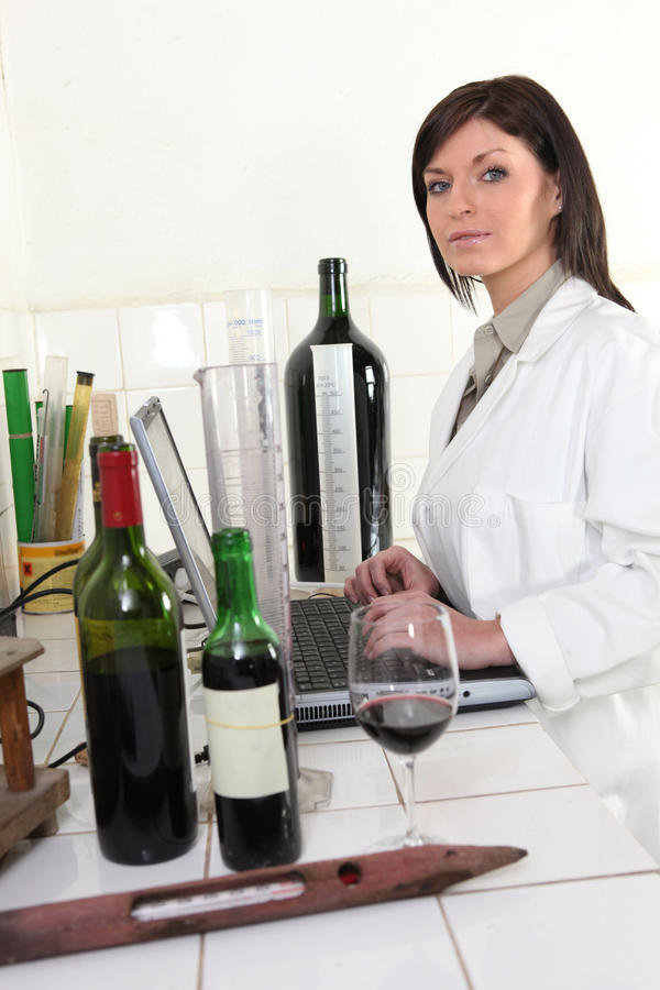 Oenologist analysing a wine royalty free stock images