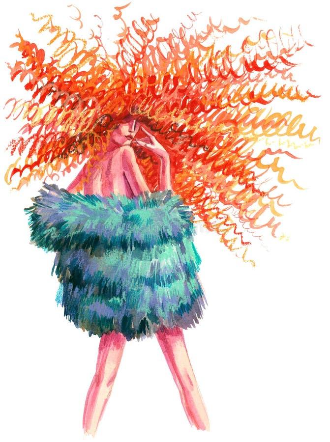 Oerhörd frisyr stock illustrationer