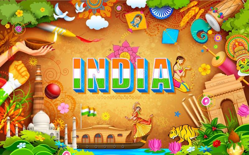 Oerhörd Indien bakgrund royaltyfri illustrationer