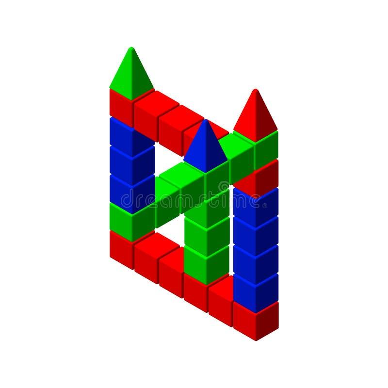 Oerhört diagram från leksakbyggnadskvarter Färgrik illu för vektor royaltyfri illustrationer