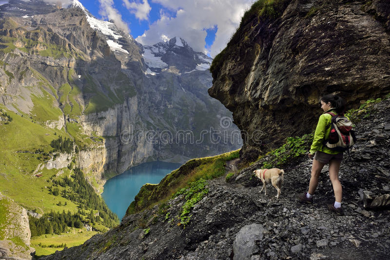 Oeschinensee, Kandersteg switzerland stockfotografie