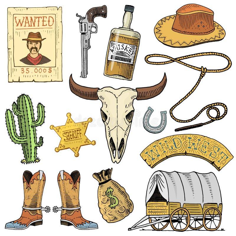 Oeste, demostración del rodeo, vaquero o indios salvajes con el lazo sombrero y arma, cactus con la estrella del sheriff y bisont ilustración del vector