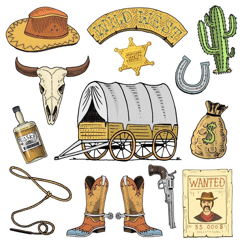 Oeste, mostra do rodeio, vaqueiro ou indianos selvagens com laço chapéu e arma, cacto com estrela do xerife e bisonte, bota com ilustração stock