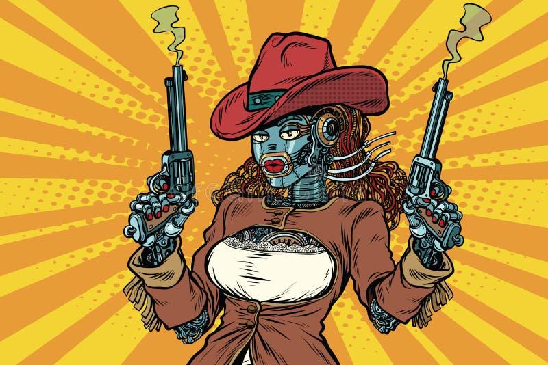 Oeste selvagem do steampunk do gângster da mulher do robô ilustração stock