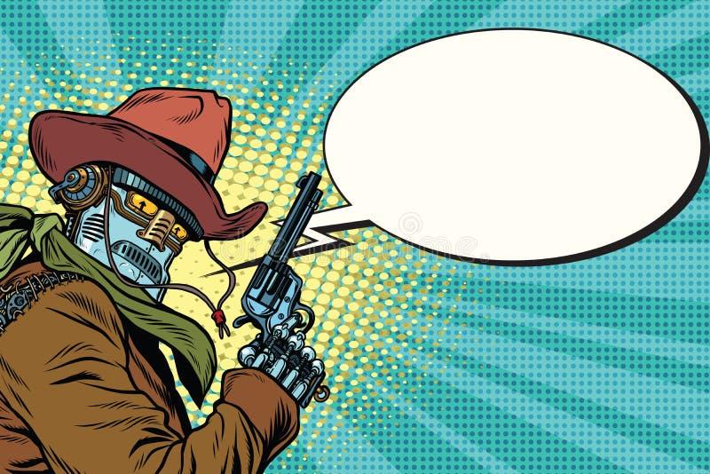 Oeste selvagem do vaqueiro do robô, bolha da banda desenhada ilustração do vetor