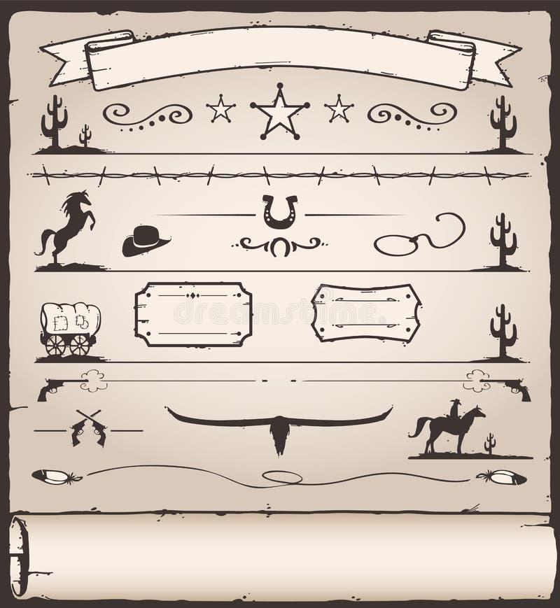 Oeste selvagem dos elementos do projeto ilustração royalty free