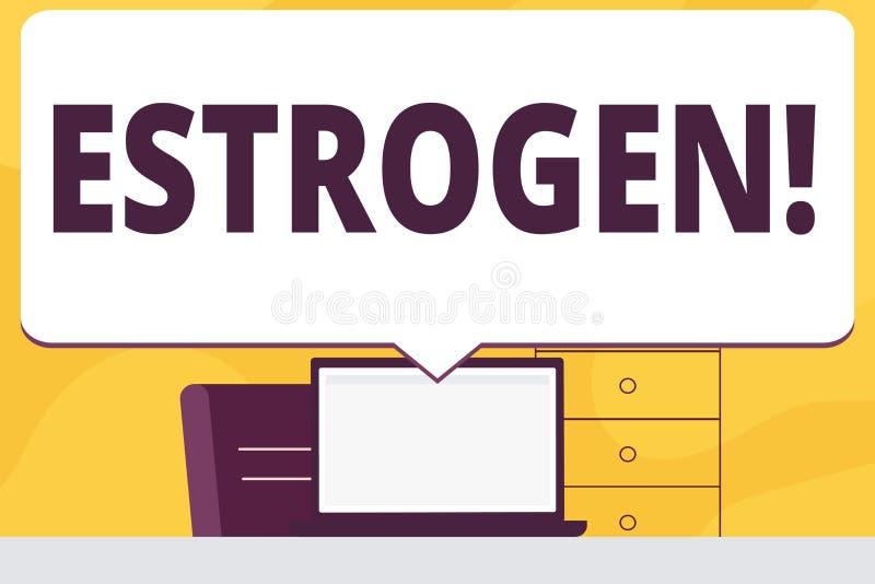 Oestrogène des textes d'écriture de Word Le concept d'affaires pour le groupe d'hormones favorisent le développement des caractér illustration de vecteur