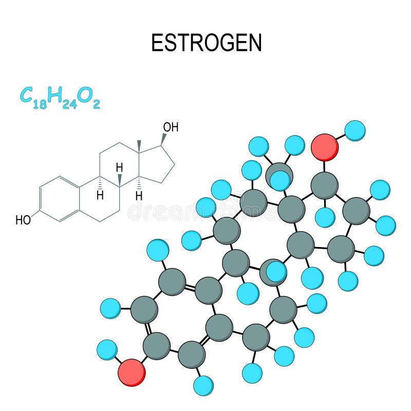 oestrogeen Chemisch structureel formule en model van molecule C18H24O2 royalty-vrije illustratie