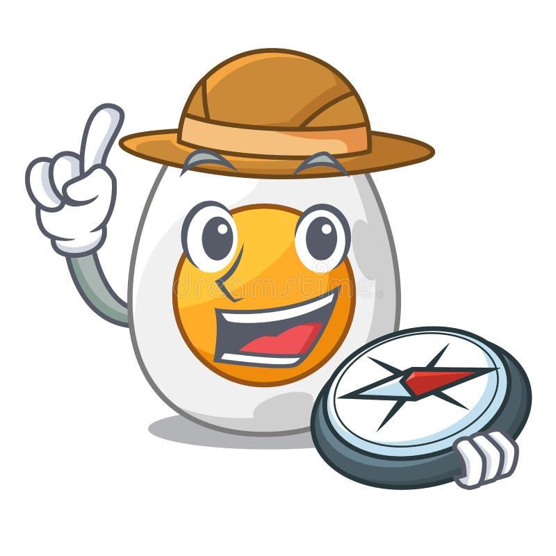 Oeuf à la coque épluché par explorateur sur la bande dessinée de mascotte illustration libre de droits
