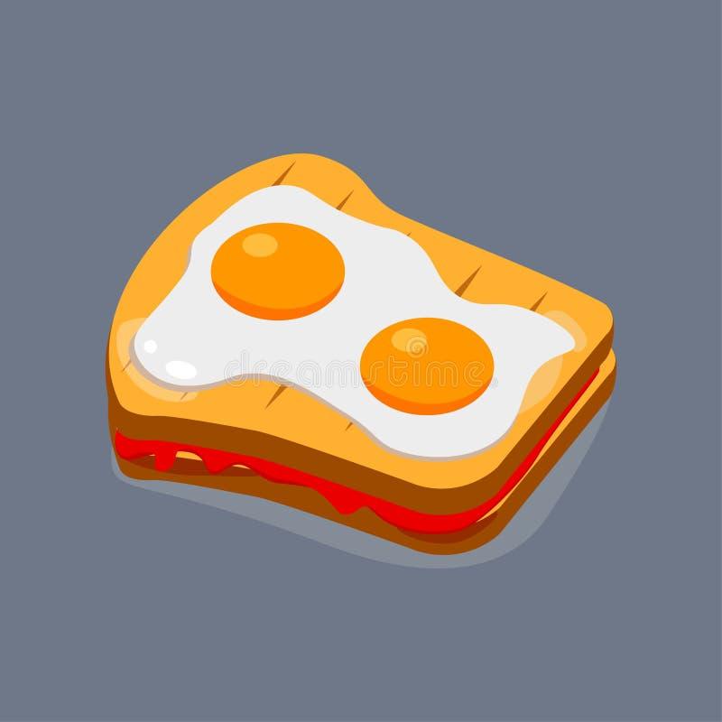 Oeuf au plat avec du pain pour le petit déjeuner, déjeuner Repas avec le jaune Vue supérieure Conception de bande dessinée de vec illustration libre de droits