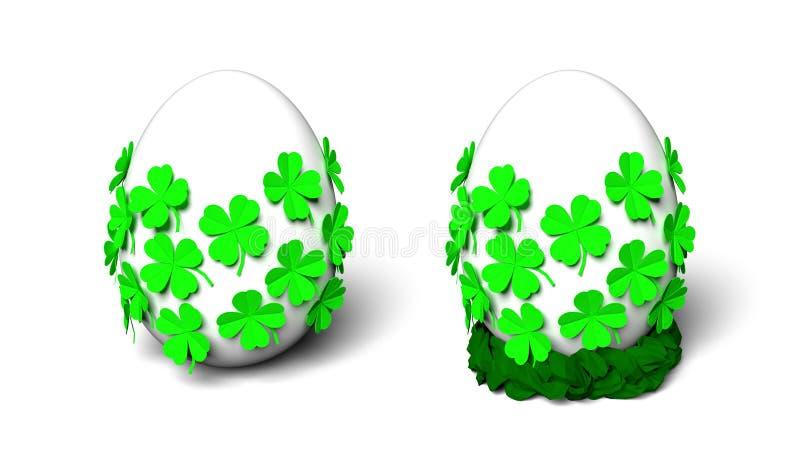 Oeuf blanc simple avec les trèfles pliés vert clair de feuille du papier quatre et le nid de papier tressé photographie stock libre de droits