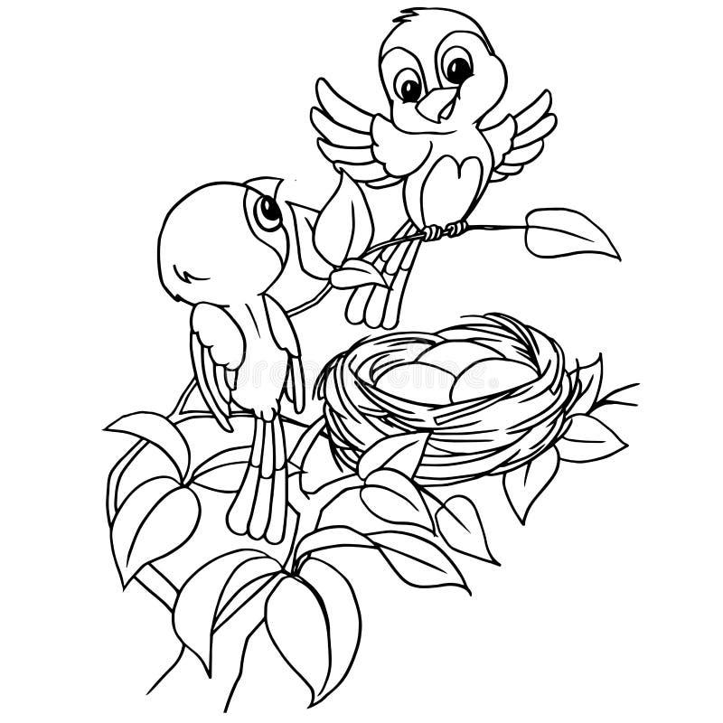 Oeuf d'oiseau de bande dessinée dans le vecteur de page de coloration de nid illustration de vecteur