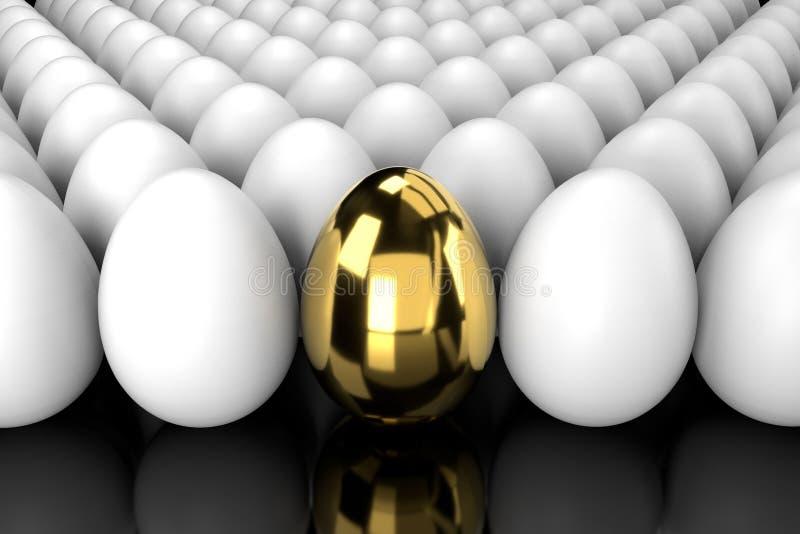 Oeuf d'or se tenant de la foule avec la réflexion illustration de vecteur