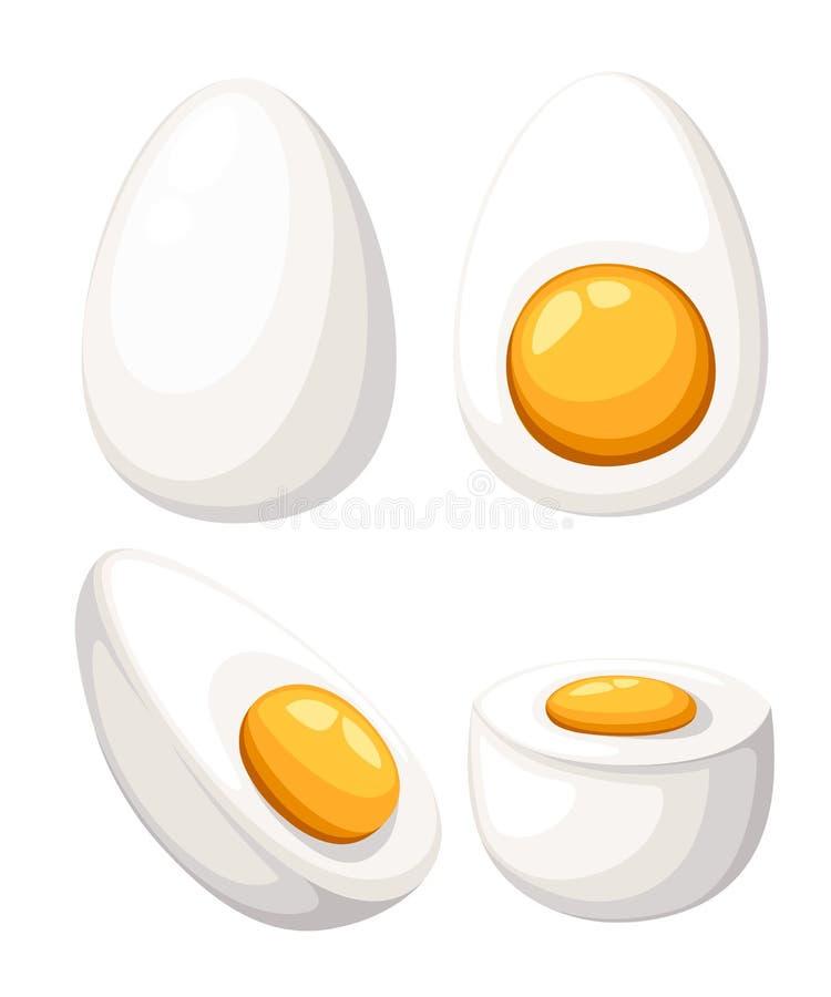 Oeuf de bande dessinée d'isolement sur le fond blanc Ensemble de frit, bouilli, moitié, oeufs coupés en tranches Illustration de  illustration stock
