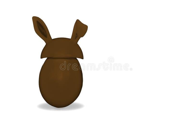 Oeuf de chocolat avec des oreilles du ` s de lapin d'isolement illustration stock