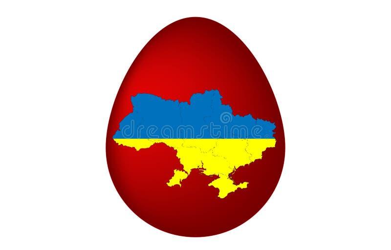 Oeuf de pâques avec la carte de l'Ukraine photo libre de droits