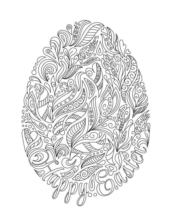 oeuf de p u00e2ques avec le mod u00e8le dans le style de zentangle livre de coloriage pour les enfants