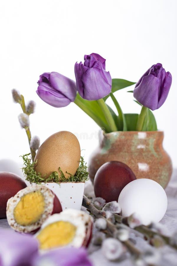 Oeuf de pâques avec les tulipes et la brindille de saule photographie stock