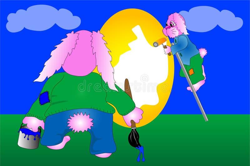 Oeuf de pâques de peinture de lapin illustration libre de droits
