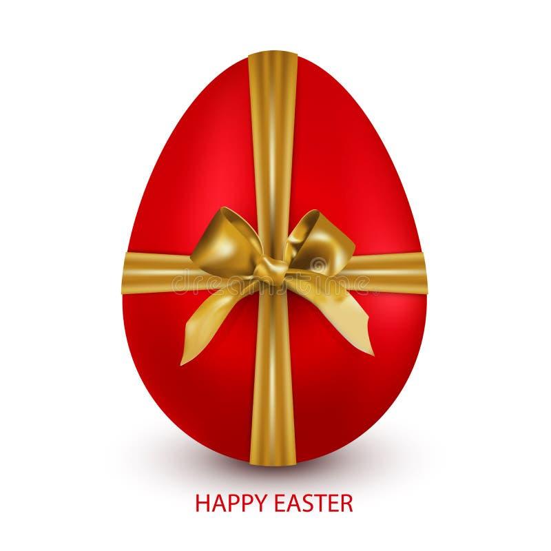 Oeuf de pâques rouge attaché avec un ruban d'or avec un arc d'isolement sur un fond blanc avec une salutation Joyeuses Pâques illustration libre de droits