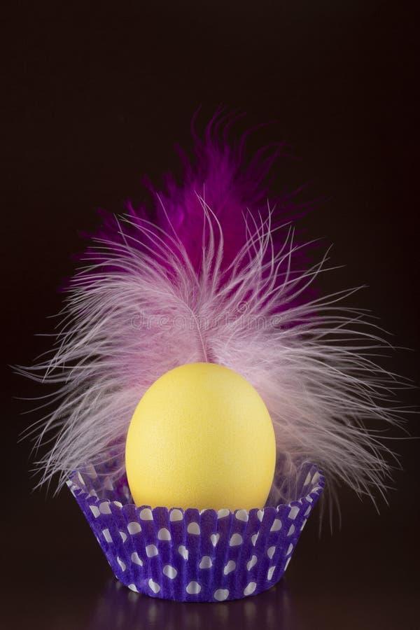 Oeuf de tyellow de Pâques avec une belle plume rose image stock