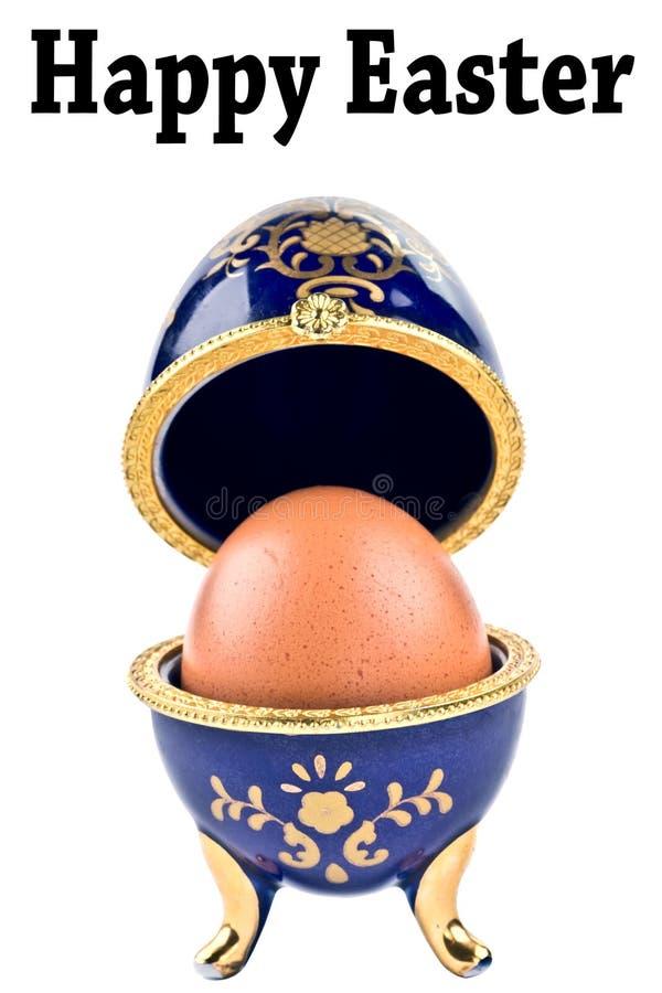 Oeuf en céramique décoratif heureux de Faberge de bijou d'oeuf de pâques d'isolement photos libres de droits