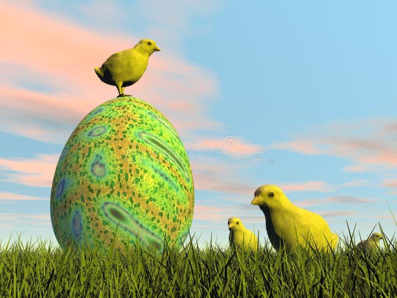 Oeuf et poussins de pâques - 3D rendent illustration libre de droits
