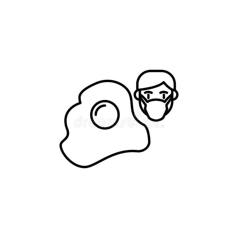 Oeuf, icône allergique de visage Élément des problèmes avec l'icône d'allergies Ligne mince icône pour la conception de site Web  illustration stock