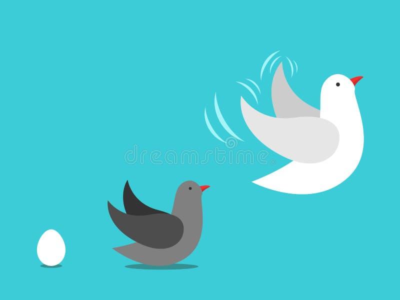 Oeuf, oiseau grandissant illustration libre de droits