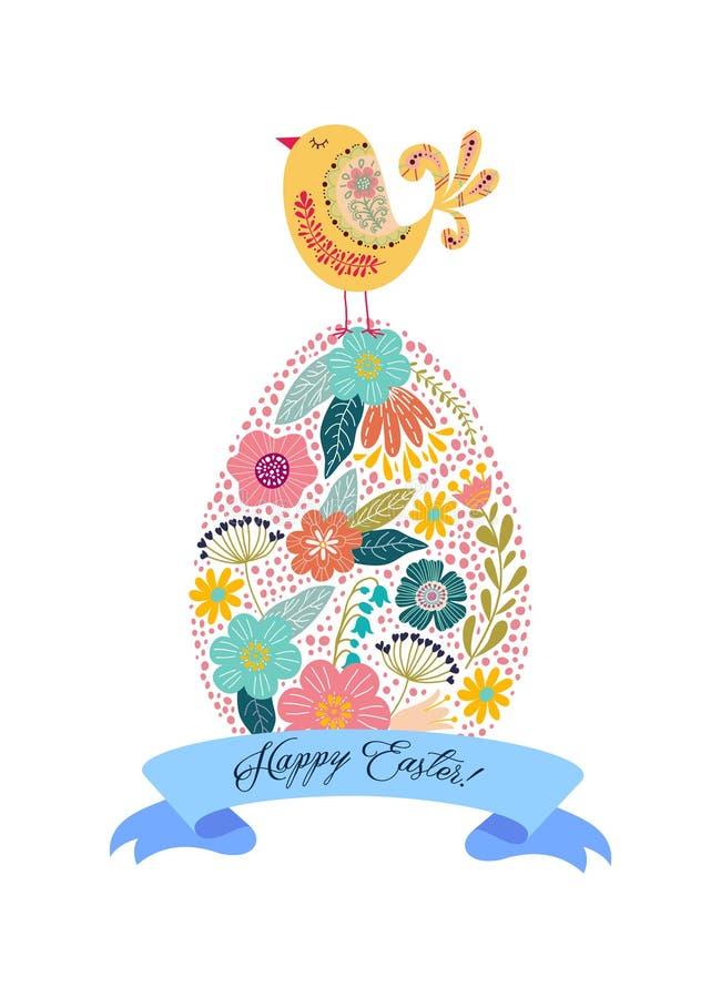Oeuf, poulet et ruban de griffonnage de Pâques avec le texte de salutation d'isolement sur le fond blanc Vecteur illustration de vecteur