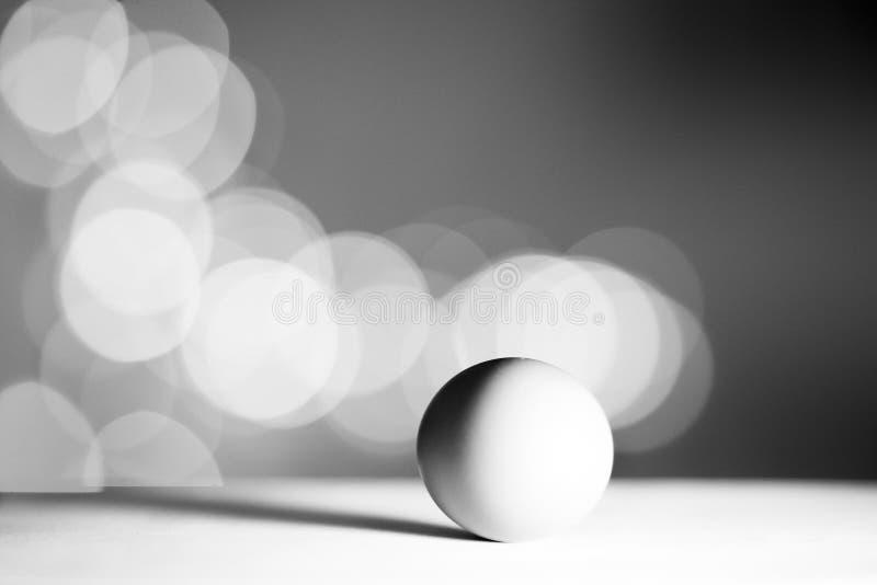 Oeuf simple d'isolement dans le fond blanc avec le bokhe Concept noir et blanc image libre de droits