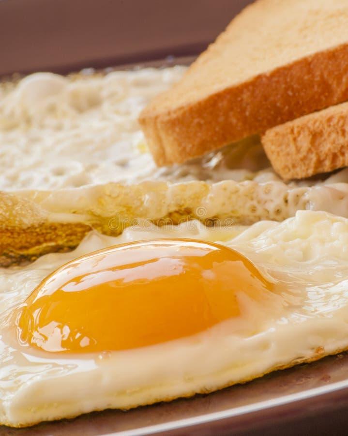 Oeuf sur le plat sur le pain grillé blanc image stock