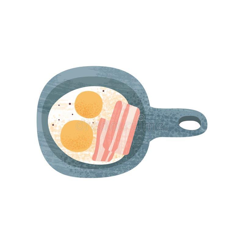 Oeufs au plat avec le lard dans la poêle Repas savoureux de matin de petit déjeuner appétissant Conception plate de vecteur avec  illustration stock