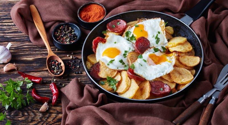 Oeufs au plat avec les pommes de terre et les saucisses croquantes photos stock