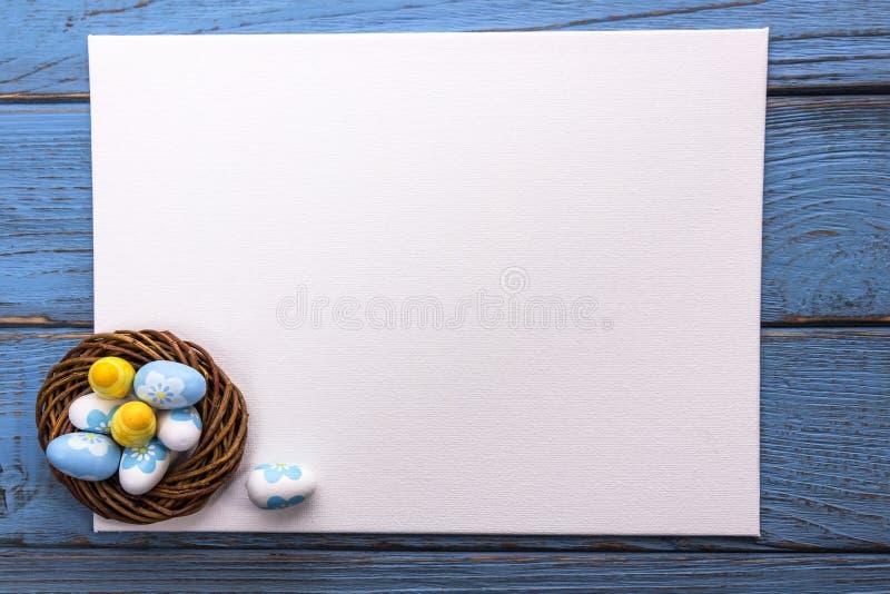 Oeufs bleus et jaunes de Pâques dans le nid sur le fond en bois Le livre blanc, préparent pour votre texte Vue supérieure, l'espa image stock