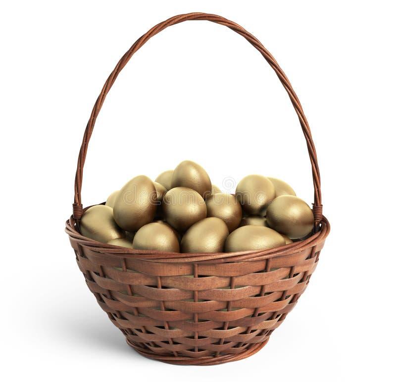Oeufs d'or dans le panier en osier Pâques graphisme 3D d'isolement photos libres de droits