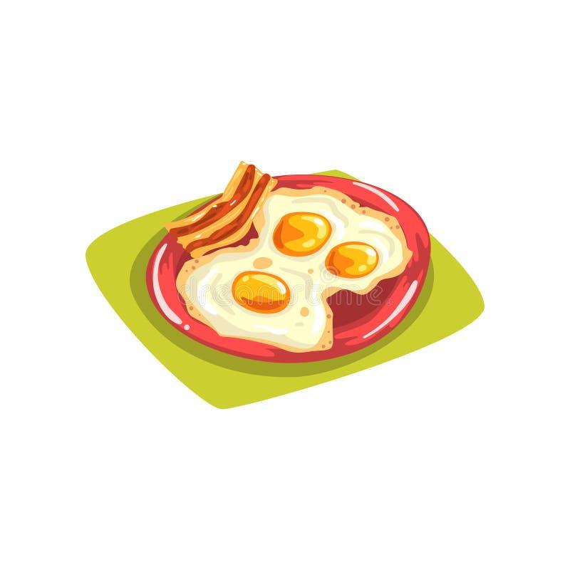 Oeufs de bande dessinée avec le lard du plat rouge Bonjour petit déjeuner américain traditionnel Élément plat de vecteur pour la  illustration stock