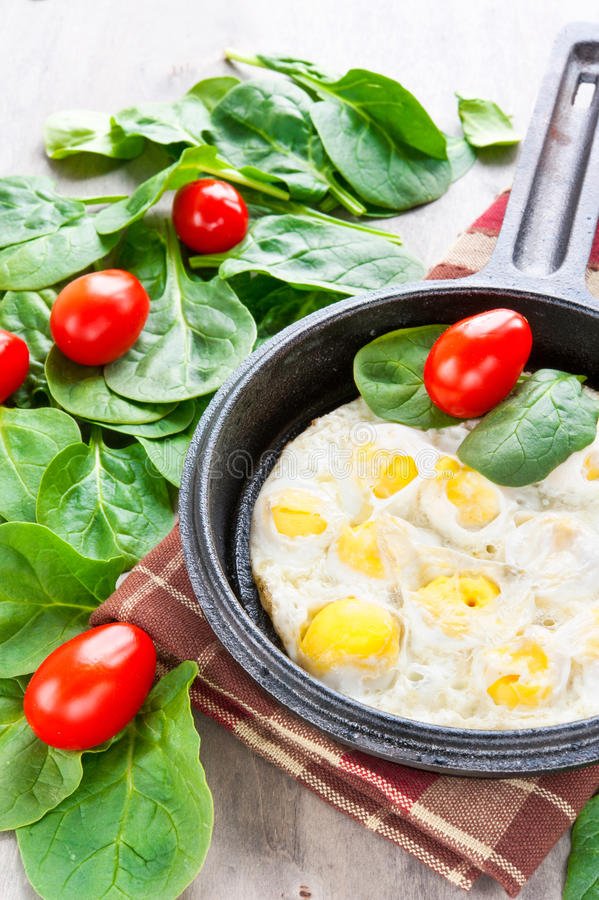 Oeufs de caille brouillés avec des épinards et des tomates. À l'intérieur plan rapproché. image stock
