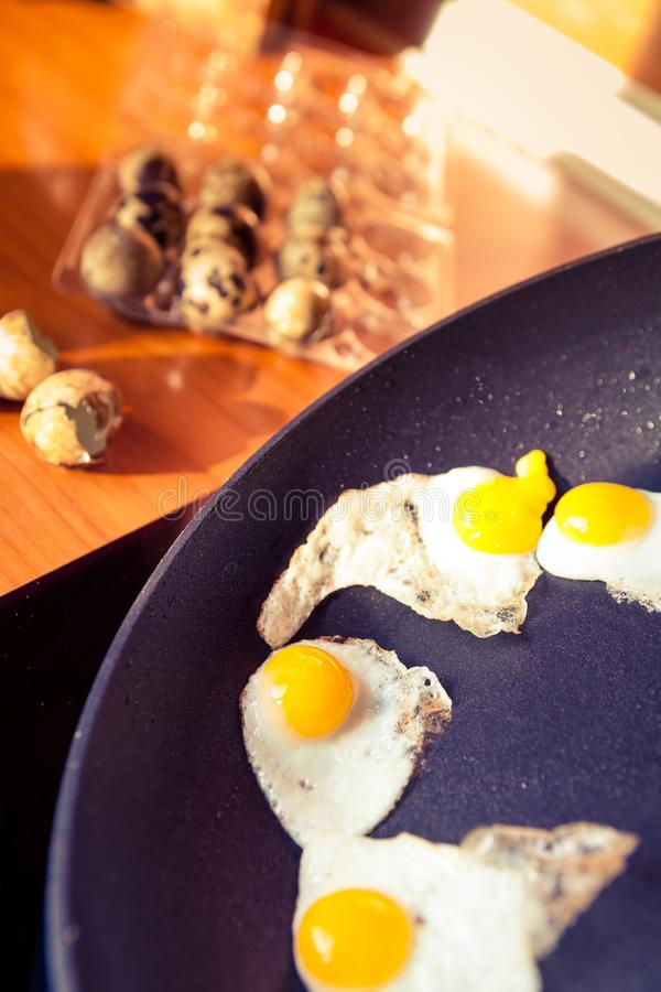 Oeufs de caille pour le petit déjeuner photo stock
