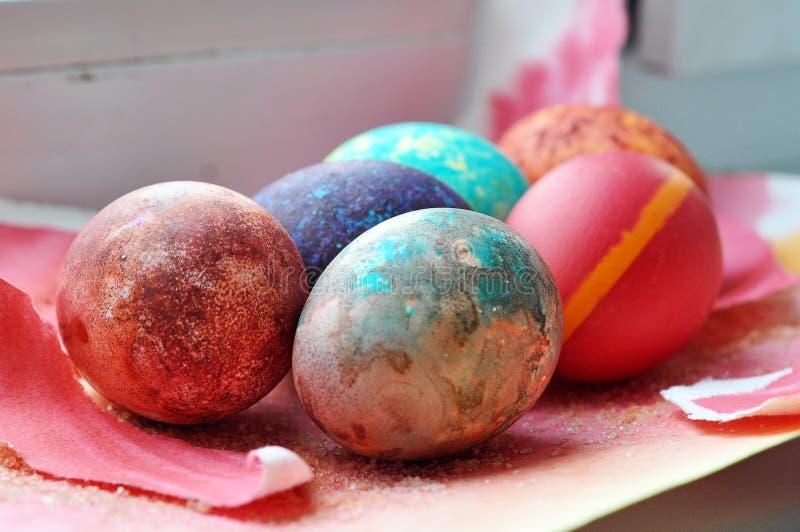Oeufs de galaxie de Pâques photo stock
