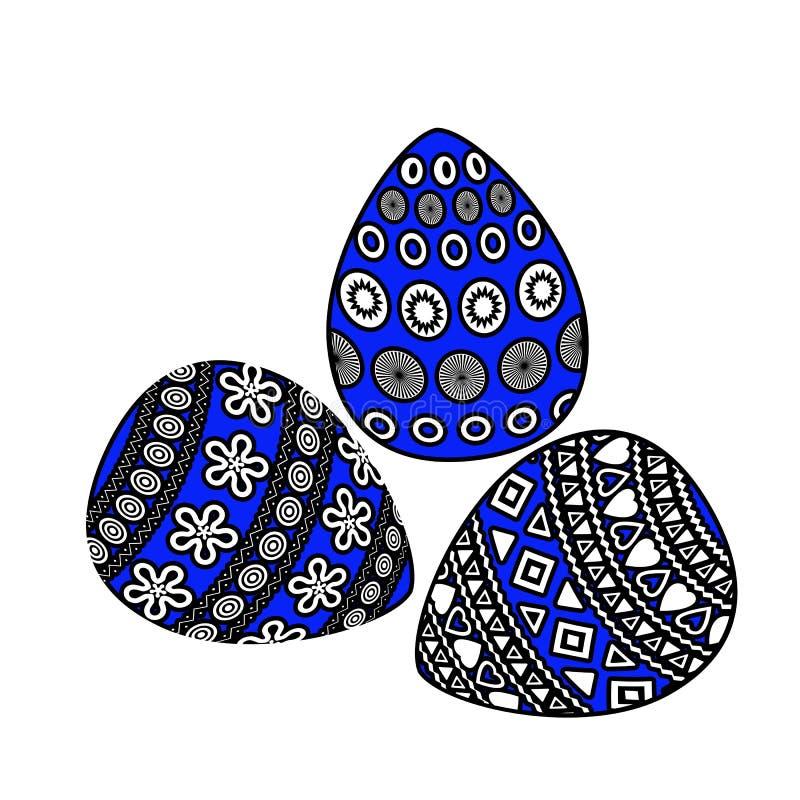 Oeufs de pâques avec l'ornement géométrique sur le fond blanc photographie stock