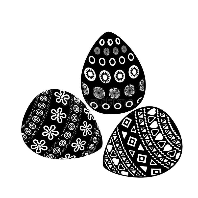 Oeufs de pâques avec l'ornement géométrique sur le fond blanc photos libres de droits