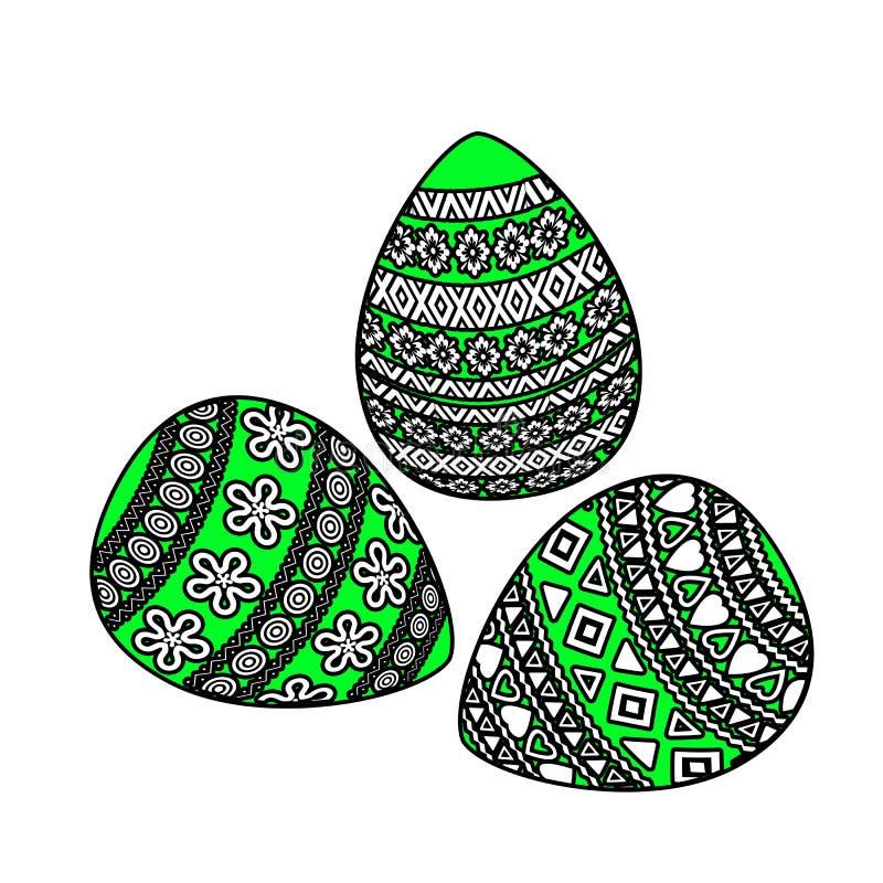 Oeufs de pâques avec l'ornement géométrique sur le fond blanc image libre de droits